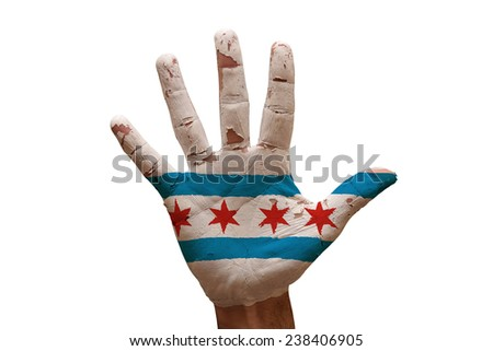 man hand palm painted flag of chicago - stock photo