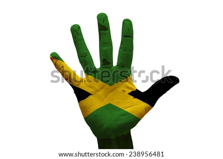 man hand palm painted flag of jamaica - stock photo