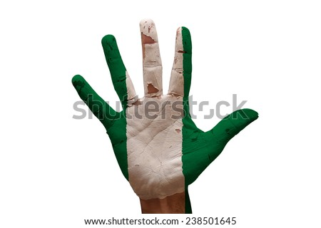 man hand palm painted flag of nigeria - stock photo