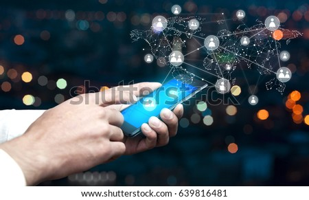 man hand phone with network on screen