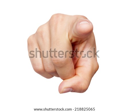 Man hand pointing at you, isolated on white background - stock photo
