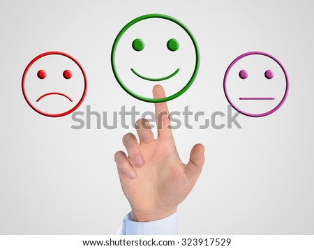 Man hand press happy face button