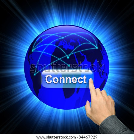 Man hand pressing connect button on abstract image of a social network and world map - stock photo