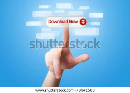 man hand pressing download now button 2 - stock photo