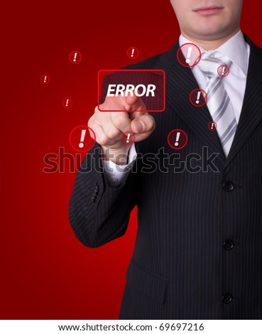 Man hand pressing ERROR button - stock photo