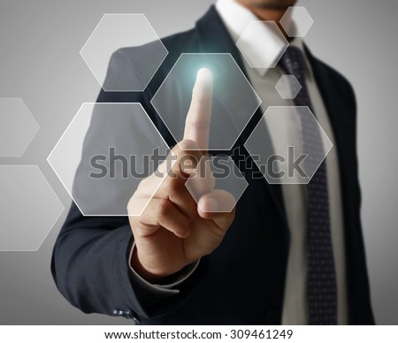 Man Hand pressing modern social button - stock photo