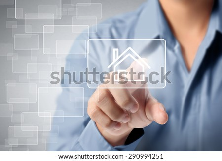 Man hand pressing modern social buttons - stock photo