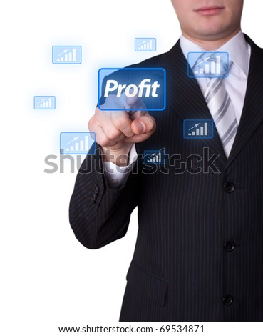 Man hand pressing profit button - stock photo