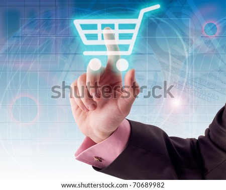 Man hand pressing shopping cart icon