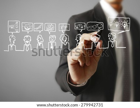 Man hand pressing Social network icon - stock photo