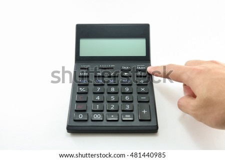 Man hand push button black calculator on white background isolated.