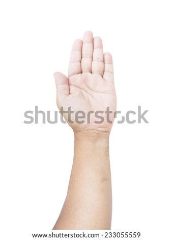 Man hand raised up. Isolated on white background.  International Volunteers Day, Human Rights Day concept.
