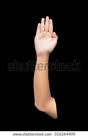 man hand raised up lifted up in the air on black background. - stock photo