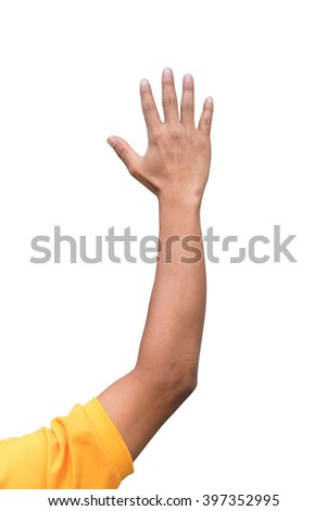 man hand raised up lifted up in the air on white background. Businessman Raising there Hand Up at a Conference to answer a question - stock photo