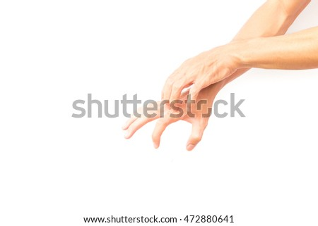 Man hand scratching hand on white background for  healthy concept