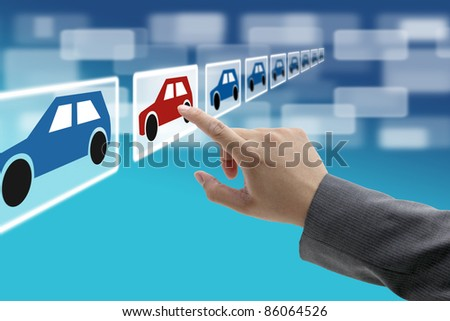 man hand select new car from electronic showroom for e-commerce concept - stock photo