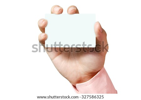 Man hand showing business white card. - stock photo