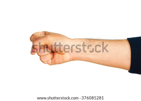 Man hand showing fist on white background. - stock photo