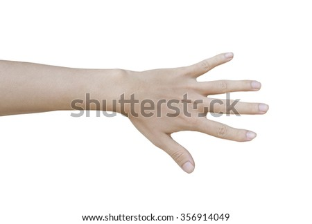 Man hand showing five count isolated on a white background - stock photo