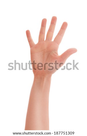 Man hand showing five count. Man hand sign isolated on white background. Man shows his hand stop sign, note carefully.
