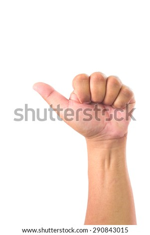 Man hand showing one finger good on white background - stock photo