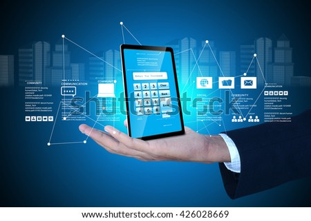 Man hand showing Tablet pc with password protection   - stock photo