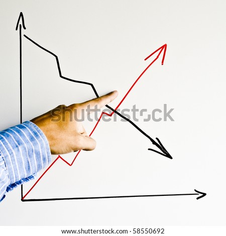 Man hand showing the graph - stock photo