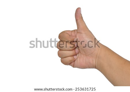 man hand showing thumb up isolated white background