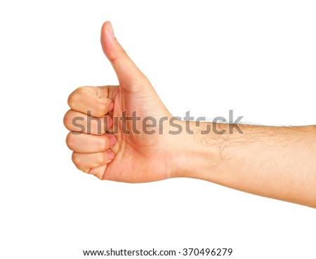 Man hand showing thumbs up isolated on white background
