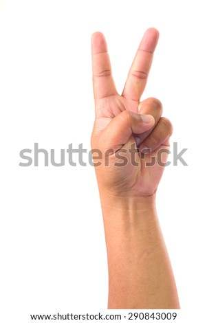 Man hand showing two finger on white background - stock photo