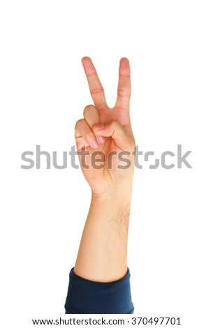Man hand showing two fingers isolated on white background. - stock photo