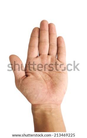 Man hand sign isolated on white background ,fingerprint - stock photo