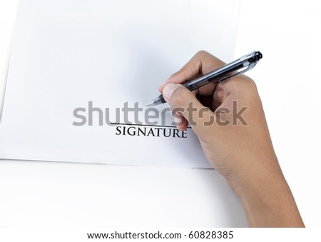 man hand signing a contract