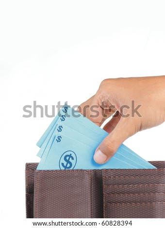 man hand taking money from wallet