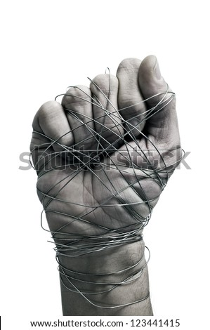 man hand tied with wire, as a symbol of oppression or repression, on a white background - stock photo