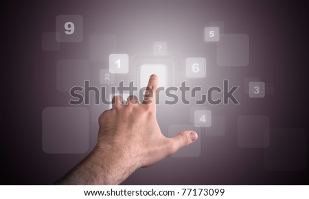 man hand touch a numerical sequence on a keyboard