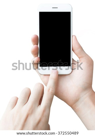 Man hand  touch  holding the white smartphone. - stock photo