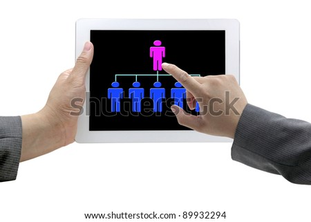 man hand touch on CEO on Tablet for recruitment concept