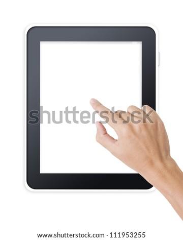 Man hand touching screen on modern digital tablet pc - stock photo