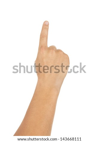 Man hand touching virtual screen. Isolated on white.