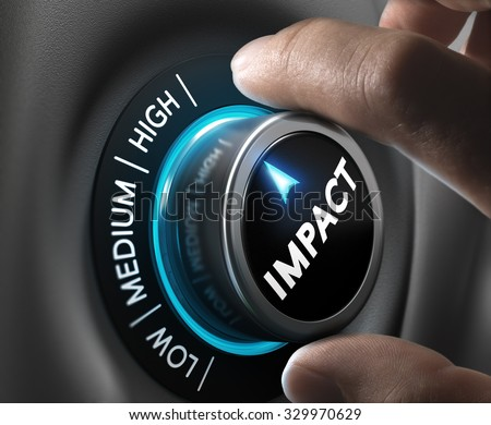 Man hand turning a knob in the highest position,  Concept image for illustration of high impact communication and advertising campaign.  - stock photo