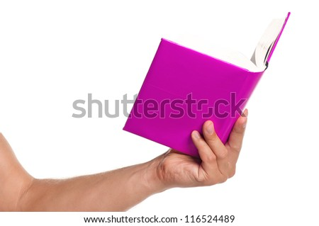 Man hand with a book isolated on white background - stock photo