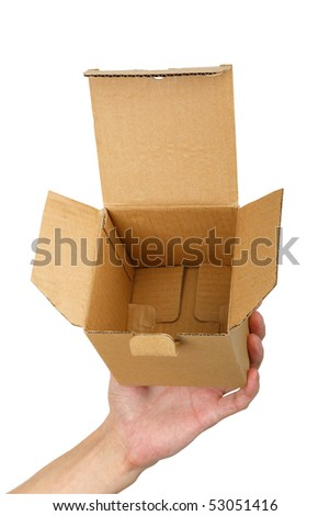 man hand with a box isolated  background - stock photo
