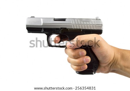 man hand with a gun isolated on white background - stock photo