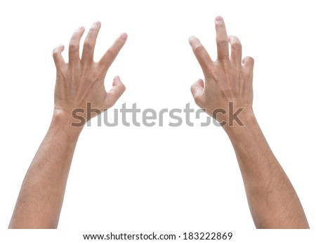 Man hand with bent isolated on white background - stock photo