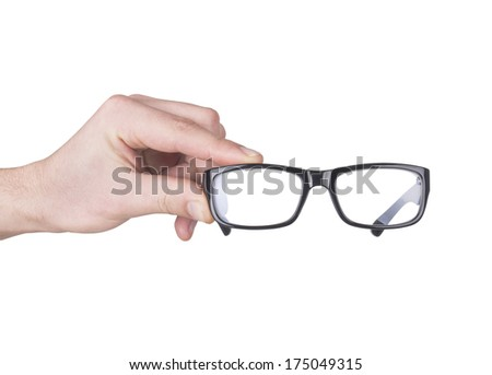 man hand with black glasses - stock photo