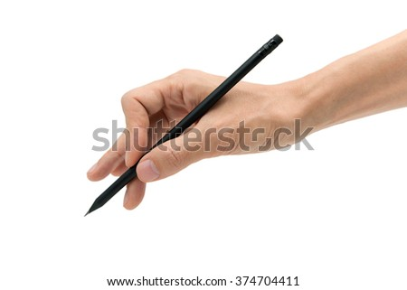 Man hand with black pencil on a white background