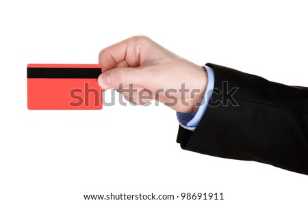 man hand with credit card isolated on white