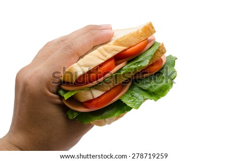 man hand with delicious sandwich on white background