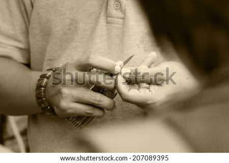 Man hand with electronic equipment-3